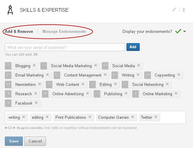 Endorsements on LinkedIn