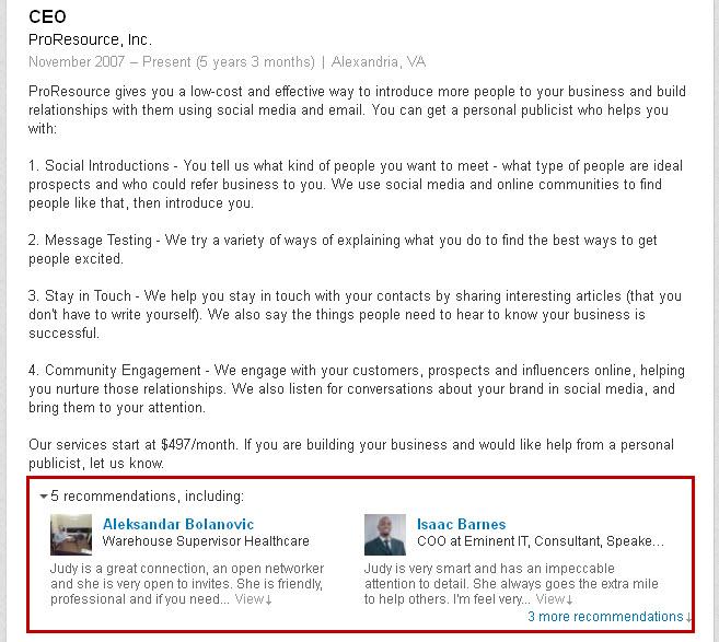 LinkedIn profile updates