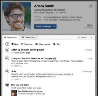 LinkedIn Contacts appearance useful