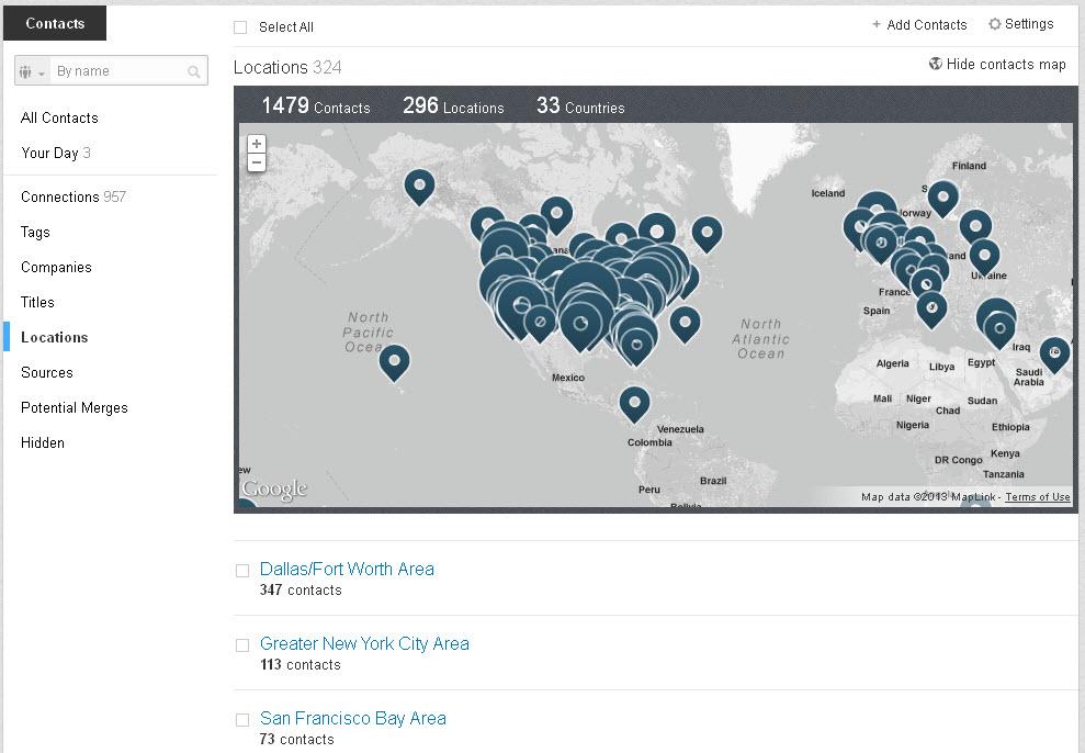 sort contacts LinkedIn location