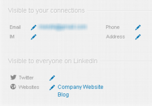 LinkedIn contact information visibility