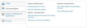 LinkedIn communications settings