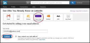 LinkedIn connections list