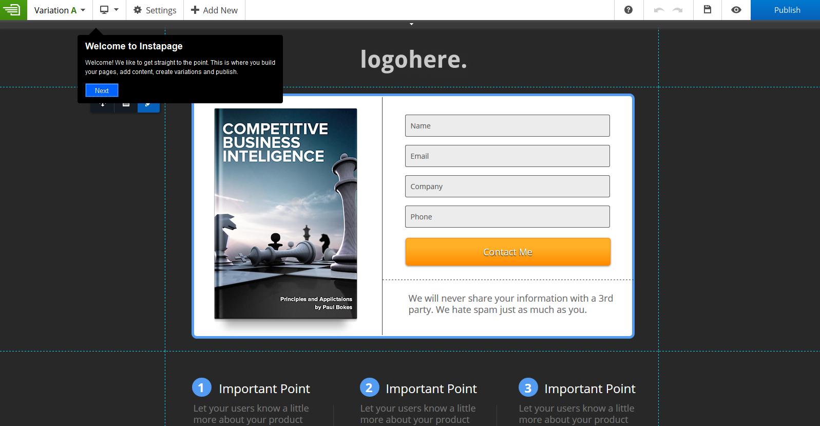 instapage landing page tool