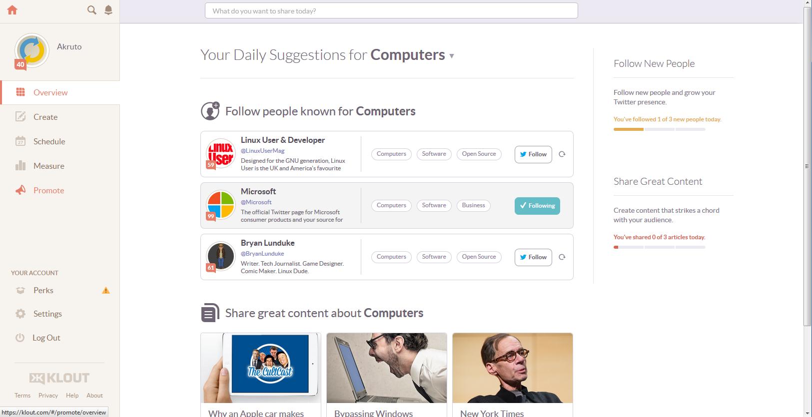 klout screenshot influencer