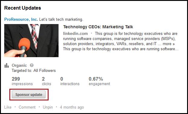 linkedin ads sponsored updates