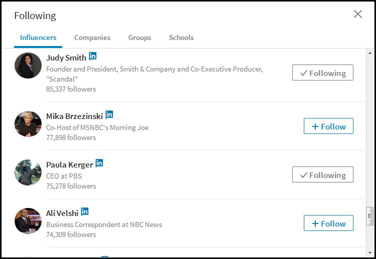 linkedin influencer follow