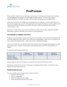 Pivot Precision pre-launch validation