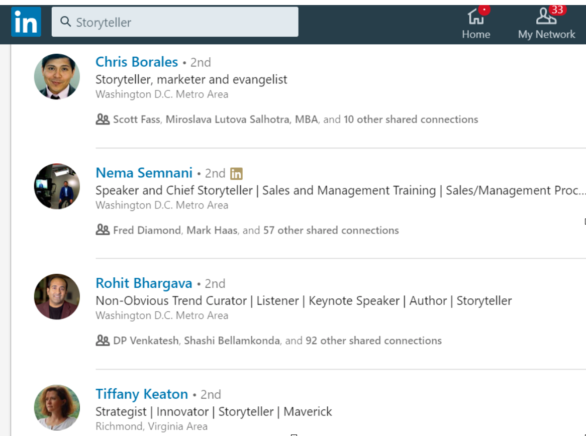 Storyteller LinkedIn search