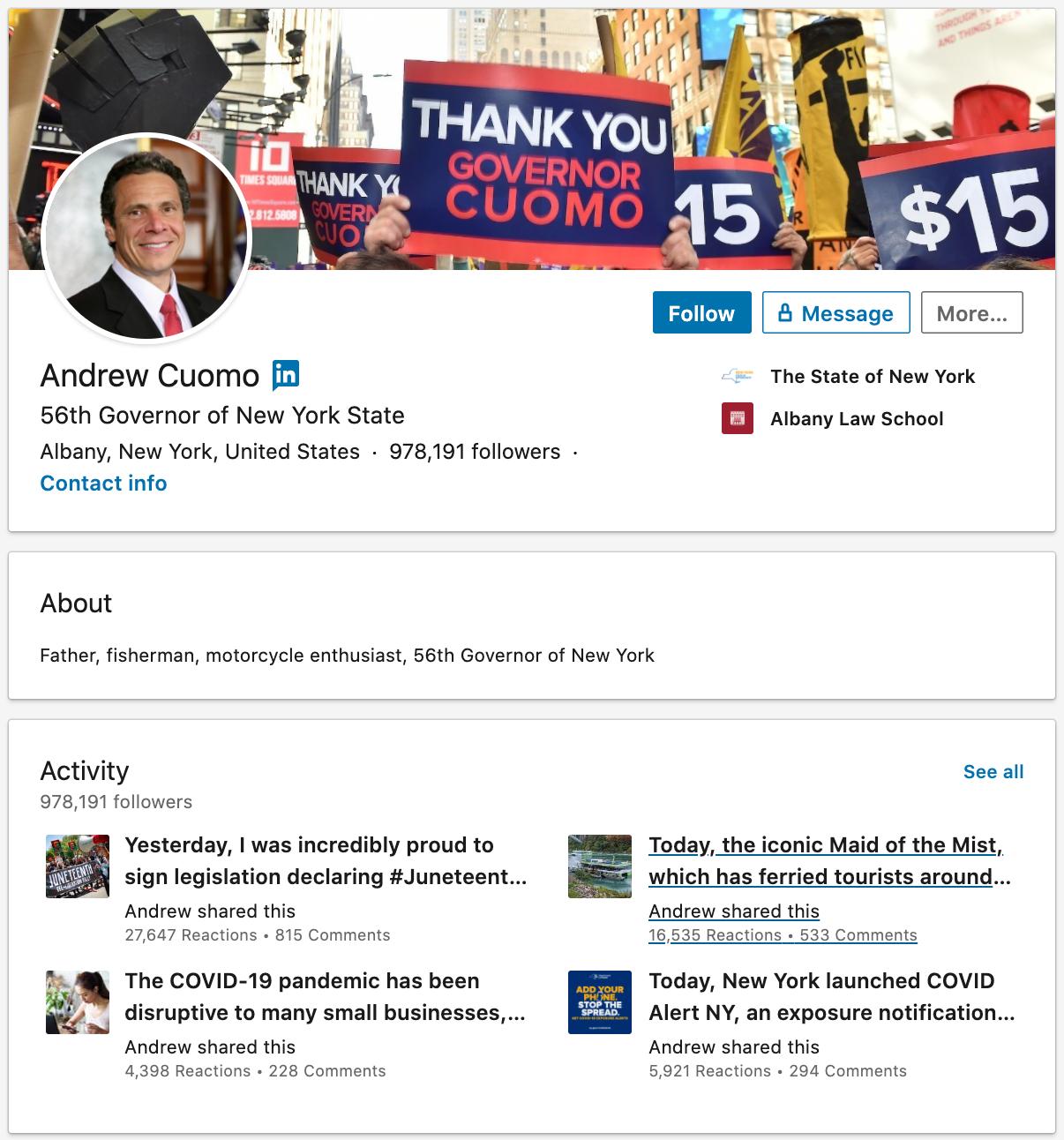 Andrew Cuomo LinkedIn